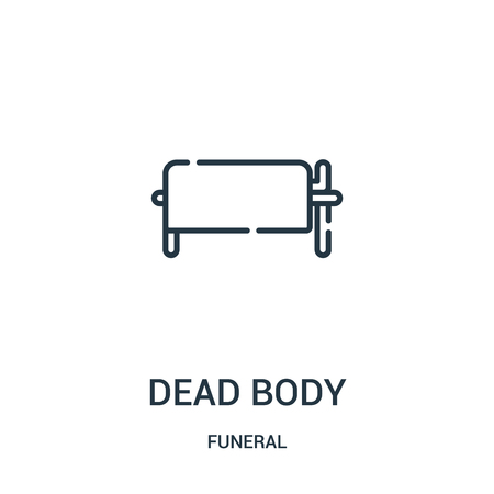 dead body icon vector from funeral collection. Thin line dead body outline icon vector illustration. Linear symbol for use on web and mobile apps, logo, print media.