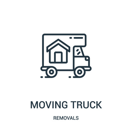 moving truck icon vector from removals collection. Thin line moving truck outline icon vector illustration. Linear symbol for use on web and mobile apps, logo, print media. Banque d'images - 124035861