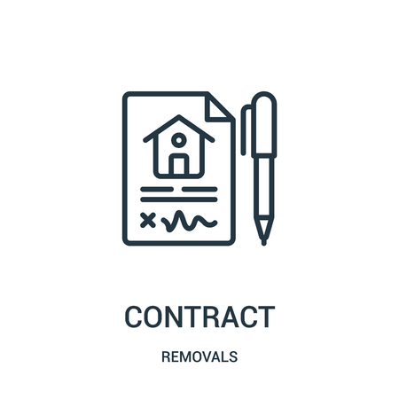 contract icon vector from removals collection. Thin line contract outline icon vector illustration. Linear symbol for use on web and mobile apps, logo, print media.