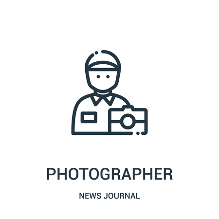 photographer icon vector from news journal collection. Thin line photographer outline icon vector illustration. Linear symbol for use on web and mobile apps, logo, print media.