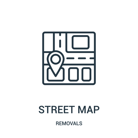street map icon vector from removals collection. Thin line street map outline icon vector illustration. Linear symbol for use on web and mobile apps, logo, print media. Banque d'images - 123471357