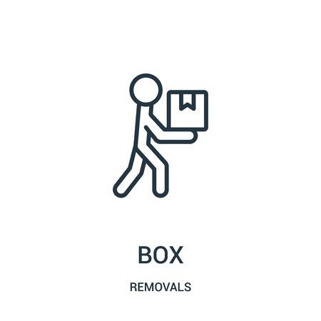 box icon vector from removals collection. Thin line box outline icon vector illustration. Linear symbol for use on web and mobile apps, logo, print media. Banque d'images - 124035884