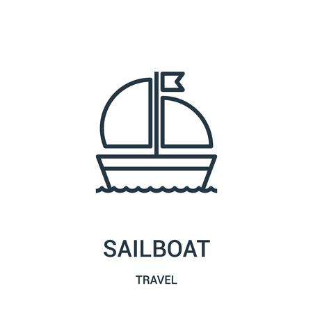 sailboat icon vector from travel collection. Thin line sailboat outline icon vector illustration. Linear symbol for use on web and mobile apps, logo, print media.