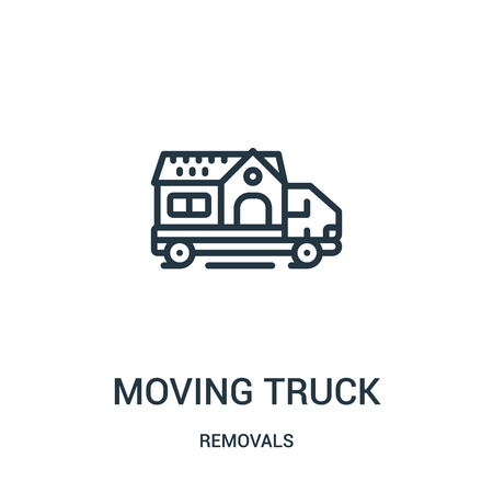 moving truck icon vector from removals collection. Thin line moving truck outline icon vector illustration. Linear symbol for use on web and mobile apps, logo, print media. Banque d'images - 124035892