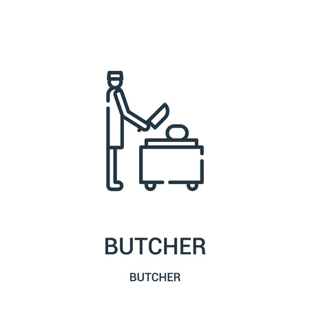 butcher icon vector from butcher collection. Thin line butcher outline icon vector illustration. Linear symbol for use on web and mobile apps, logo, print media. Stock Illustratie