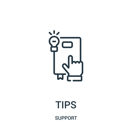 tips icon vector from support collection. Thin line tips outline icon vector illustration. Linear symbol for use on web and mobile apps, logo, print media.