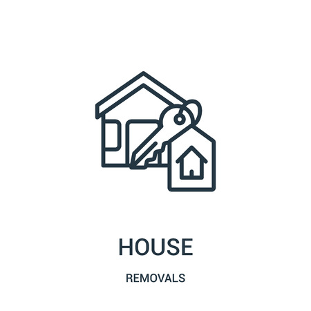 house icon vector from removals collection. Thin line house outline icon vector illustration. Linear symbol for use on web and mobile apps, logo, print media. Banque d'images - 123471417
