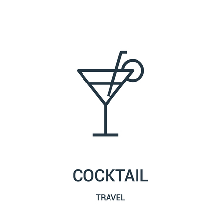 cocktail icon vector from travel collection. Thin line cocktail outline icon vector illustration. Linear symbol for use on web and mobile apps, logo, print media. Stock Vector - 123471424