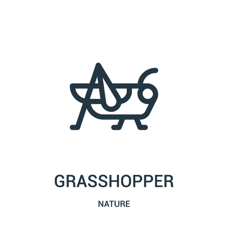 grasshopper icon vector from nature collection. Thin line grasshopper outline icon vector illustration. Linear symbol for use on web and mobile apps, logo, print media.
