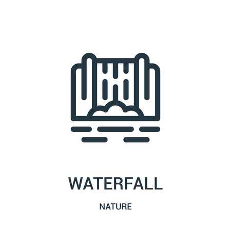 waterfall icon vector from nature collection. Thin line waterfall outline icon vector illustration. Linear symbol for use on web and mobile apps, logo, print media.