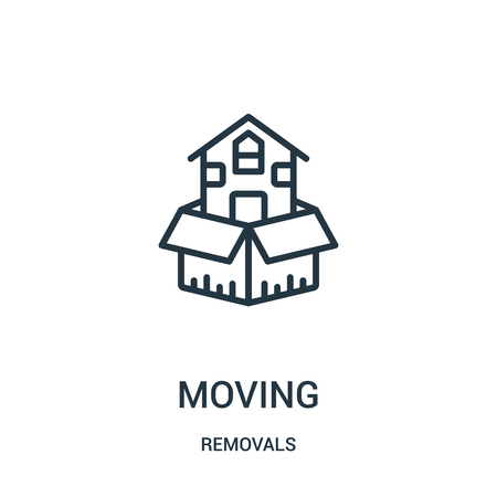 moving icon vector from removals collection. Thin line moving outline icon vector illustration. Linear symbol for use on web and mobile apps, logo, print media.