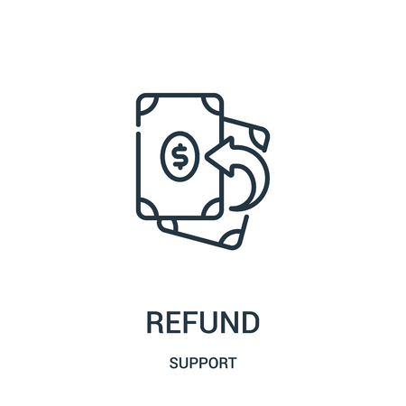refund icon vector from support collection. Thin line refund outline icon vector illustration. Linear symbol for use on web and mobile apps, logo, print media. Illustration