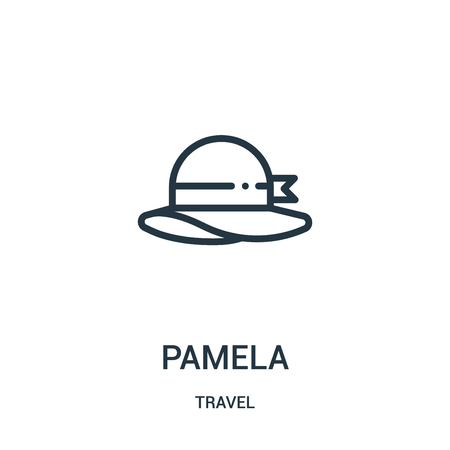 pamela icon vector from travel collection. Thin line pamela outline icon vector illustration. Linear symbol for use on web and mobile apps, logo, print media.