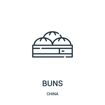 buns icon vector from china collection. Thin line buns outline icon vector illustration. Linear symbol for use on web and mobile apps, logo, print media. Illustration