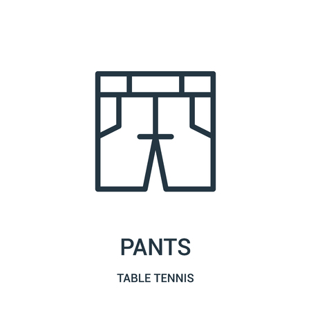 pants icon vector from table tennis collection. Thin line pants outline icon vector illustration. Linear symbol for use on web and mobile apps, logo, print media.