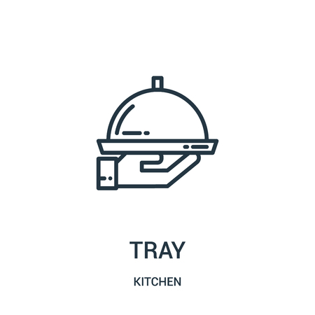 tray icon vector from kitchen collection. Thin line tray outline icon vector illustration. Linear symbol for use on web and mobile apps, logo, print media.