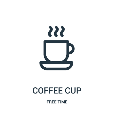 coffee cup icon vector from free time collection. Thin line coffee cup outline icon vector illustration. Linear symbol for use on web and mobile apps, logo, print media.  イラスト・ベクター素材