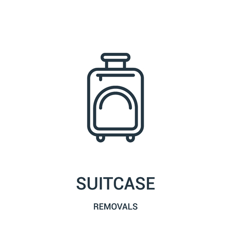suitcase icon vector from removals collection. Thin line suitcase outline icon vector illustration. Linear symbol for use on web and mobile apps, logo, print media. Foto de archivo - 123471653