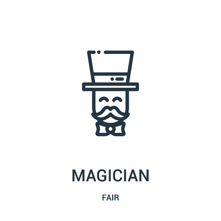 magician icon vector from fair collection. Thin line magician outline icon vector illustration. Linear symbol for use on web and mobile apps, logo, print media. Illustration
