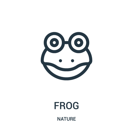frog icon vector from nature collection. Thin line frog outline icon vector illustration. Linear symbol for use on web and mobile apps, logo, print media.