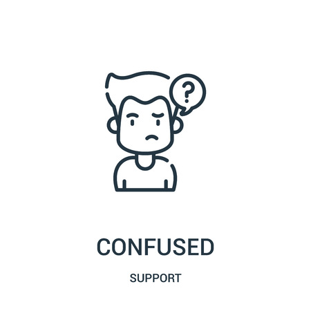 confused icon vector from support collection. Thin line confused outline icon vector illustration. Linear symbol for use on web and mobile apps, logo, print media.