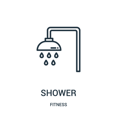 shower icon vector from fitness collection. Thin line shower outline icon vector illustration. Linear symbol for use on web and mobile apps, logo, print media.