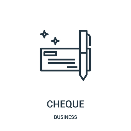 cheque icon vector from business collection. Thin line cheque outline icon vector illustration. Linear symbol for use on web and mobile apps, logo, print media. Illustration
