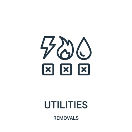 utilities icon vector from removals collection. Thin line utilities outline icon vector illustration. Linear symbol for use on web and mobile apps, logo, print media.