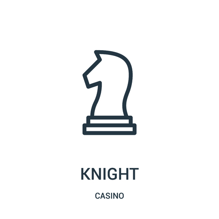 knight icon vector from casino collection. Thin line knight outline icon vector illustration. Linear symbol for use on web and mobile apps, logo, print media.
