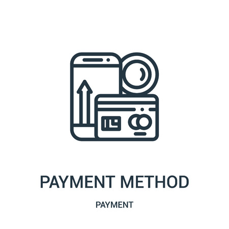 payment method icon vector from payment collection. Thin line payment method outline icon vector illustration. Linear symbol for use on web and mobile apps, logo, print media.