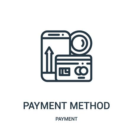 vecteur d'icône de méthode de paiement de la collection de paiement. Mode de paiement en ligne mince contour icône illustration vectorielle. Symbole linéaire à utiliser sur les applications Web et mobiles, logo, supports imprimés.