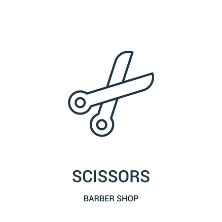 scissors icon vector from barber shop collection. Thin line scissors outline icon vector illustration. Linear symbol for use on web and mobile apps, logo, print media. Vectores