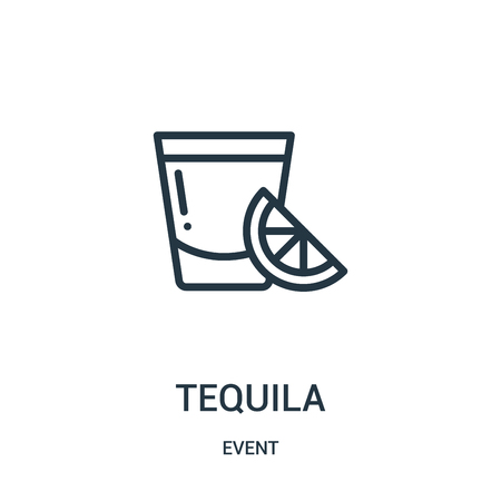 tequila icon vector from event collection. Thin line tequila outline icon vector illustration. Linear symbol for use on web and mobile apps, logo, print media.