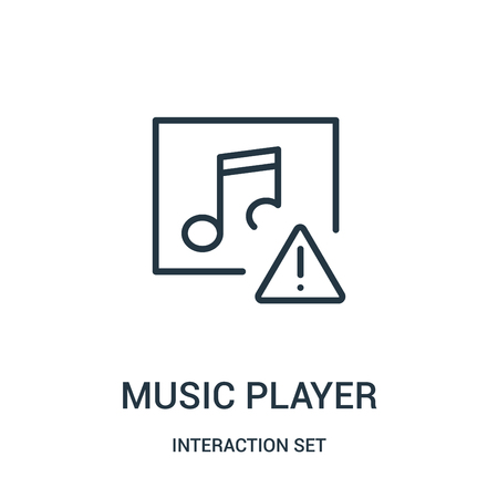 music player icon vector from interaction set collection. Thin line music player outline icon vector illustration. Linear symbol for use on web and mobile apps, logo, print media.