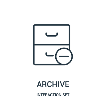 archive icon vector from interaction set collection. Thin line archive outline icon vector illustration. Linear symbol for use on web and mobile apps, logo, print media.