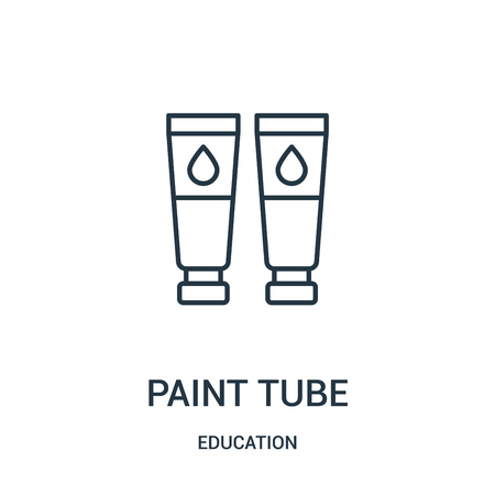 paint tube icon vector from education collection. Thin line paint tube outline icon vector illustration. Linear symbol for use on web and mobile apps, logo, print media.