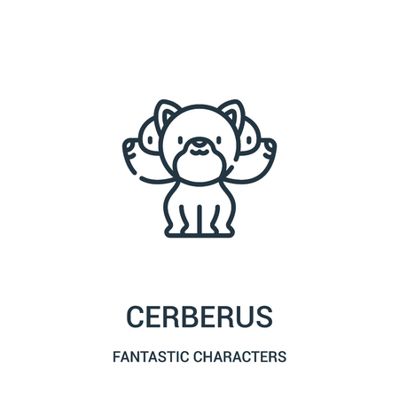 cerberus icon vector from fantastic characters collection. Thin line cerberus outline icon vector illustration. Linear symbol for use on web and mobile apps, logo, print media.