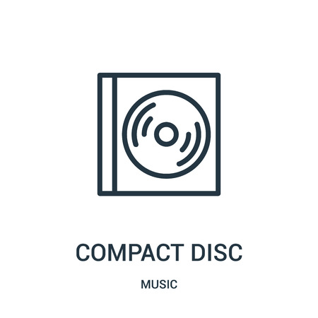 compact disc icon vector from music collection. Thin line compact disc outline icon vector illustration. Linear symbol for use on web and mobile apps, logo, print media. Illustration