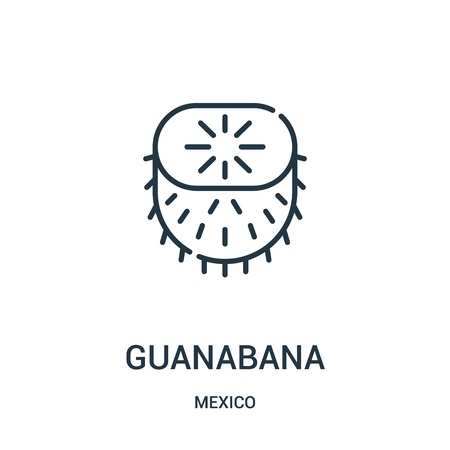 guanabana icon vector from mexico collection. Thin line guanabana outline icon vector illustration. Linear symbol for use on web and mobile apps, logo, print media.
