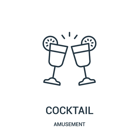 cocktail icon vector from amusement collection. Thin line cocktail outline icon vector illustration. Linear symbol for use on web and mobile apps, logo, print media. Stock Vector - 123472161