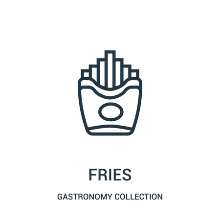 fries icon vector from gastronomy collection collection. Thin line fries outline icon vector illustration. Linear symbol for use on web and mobile apps, logo, print media.