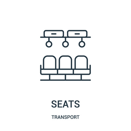seats icon vector from transport collection. Thin line seats outline icon vector illustration. Linear symbol for use on web and mobile apps, logo, print media.