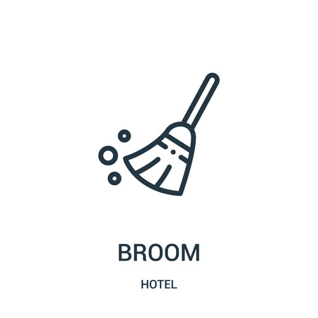 broom icon vector from hotel collection. Thin line broom outline icon vector illustration. Linear symbol for use on web and mobile apps, logo, print media.