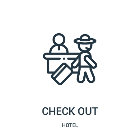 check out icon vector from hotel collection. Thin line check out outline icon vector illustration. Linear symbol for use on web and mobile apps, logo, print media. Logó