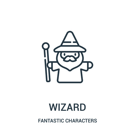 wizard icon vector from fantastic characters collection. Thin line wizard outline icon vector illustration. Linear symbol for use on web and mobile apps, logo, print media.