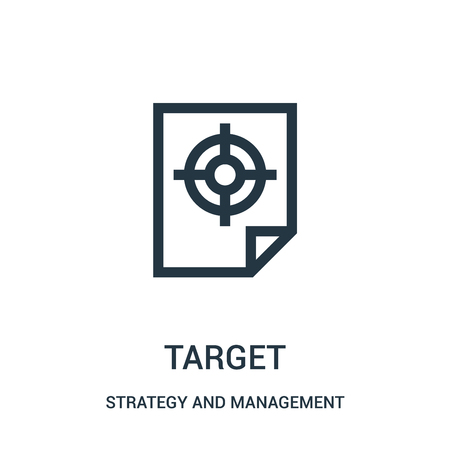 target icon vector from strategy and management collection. Thin line target outline icon vector illustration. Linear symbol for use on web and mobile apps, logo, print media.