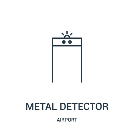 metal detector icon vector from airport collection. Thin line metal detector outline icon vector illustration. Linear symbol for use on web and mobile apps, logo, print media. Illustration