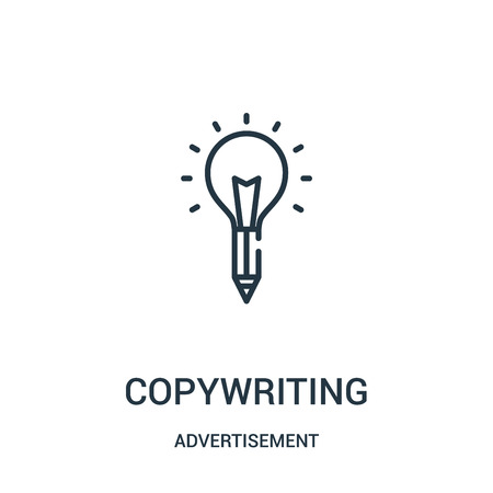 copywriting icon vector from advertisement collection. Thin line copywriting outline icon vector illustration. Linear symbol for use on web and mobile apps, logo, print media.