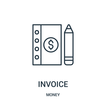 invoice icon vector from money collection. Thin line invoice outline icon vector illustration. Linear symbol for use on web and mobile apps, logo, print media.