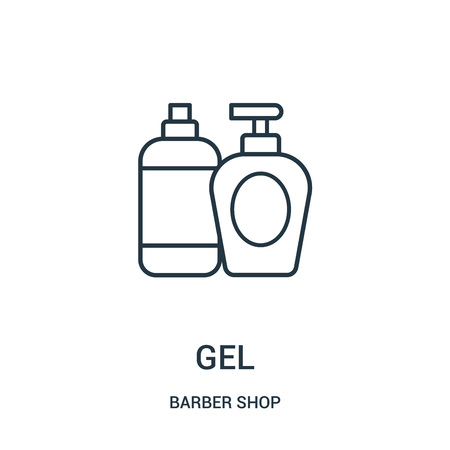 gel icon vector from barber shop collection. Thin line gel outline icon vector illustration. Linear symbol for use on web and mobile apps, logo, print media.